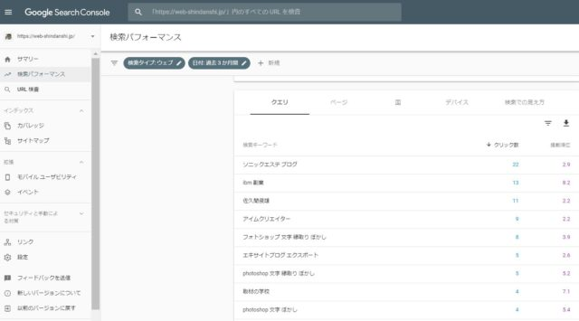 searchconsole 検索パフォーマンス